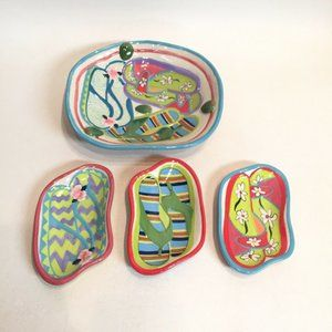 Flip Flop Dish Bowl Set 4 Bright Tropical